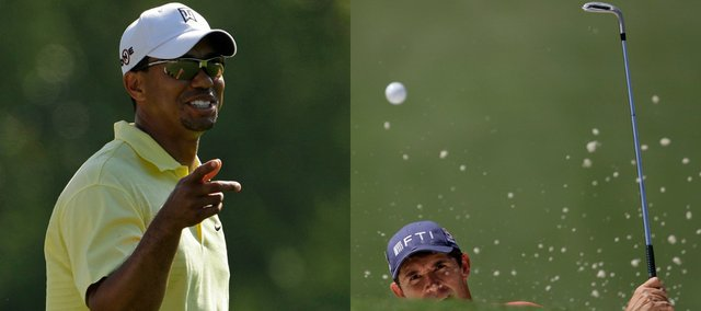 Tiger Woods, left, and Padraig Harrington participate in a practice round for the Masters on Tuesday in Augusta, Ga. The first round starts on Thursday. In a poll taken at Lawrence golf courses, Woods was picked to win the tournament. No one picked Harrington, but Journal-World sports editor Tom Keegan thinks they should reconsider.