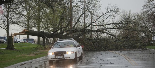 A Lawrence police officer parks at the intersection of 4th and Maine Street to alert drivers to a downed tree across Maine just south of Lawrence Memorial Hospital. The tree came down during Tuesday April 6, 2010 as heavy winds and rain hit the area.