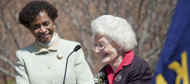 Christina Hixson, right, speaks at a Lied Center expansion ceremony Thursday. Hixson, the sole trustee of the Ernst F. Lied Foundation Trust, gave $10 million of the trust's money to build the Lied Center in the 1980s. Hixson has been named a life trustee of the Kansas University Endowment Association. At left is KU chancellor Bernadette Gray-Little.