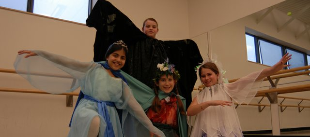 "Some 40 Lawrence children will perform in ""Jedi Knights and Galactic Princesses: The Fight 2 NOTB Polluted,"" including: Margaret Uhler, back, and front row, from left, Carson Stucky as Princess Lake'ah, Lila Alvarado as Princess Eartha and Zoe Prather as Airia."