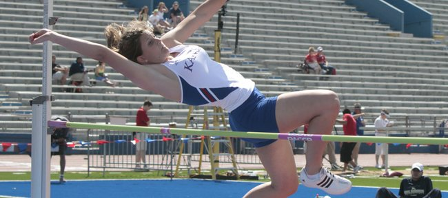 KU sophomore Kelsey Grimm clears the bar in the high jump portion of the heptathlon. The Kansas Relays started Wednesday at Memorial Stadium.