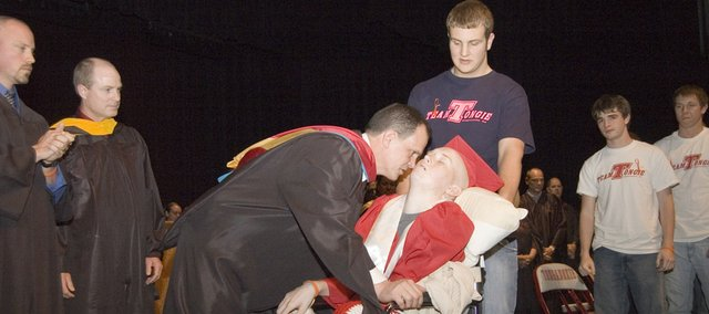 A special graduation ceremony was conducted Thursday at Tonganoxie High School for senior Connor Olson. Olson, who is battling cancer, suffered a stroke earlier this week.