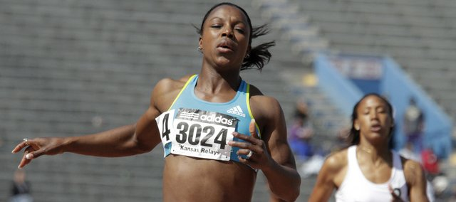 Veronica Campbell-Brown set a Kansas Relays record in the women's 200-meter dash. Campbell-Brown finished in 22.32 on Saturday in the Relays at Memorial Stadium.