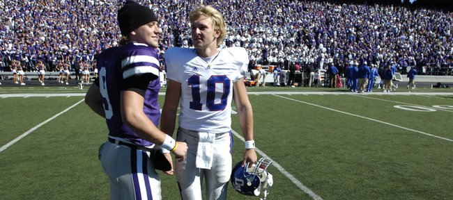 Back when they met on the field at KSU Stadium after the 2005 Sunflower Showdown, Dylan, left, and Kerry Meier both were quarterbacks. Kerry Meier — a red-shirt in 2005 — since has moved to wide receiver.