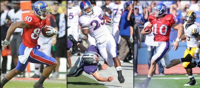 Dezmon Briscoe, Darrell Stuckey and Kerry Meier will await their NFL fates Thursday during the 2010 NFL draft.