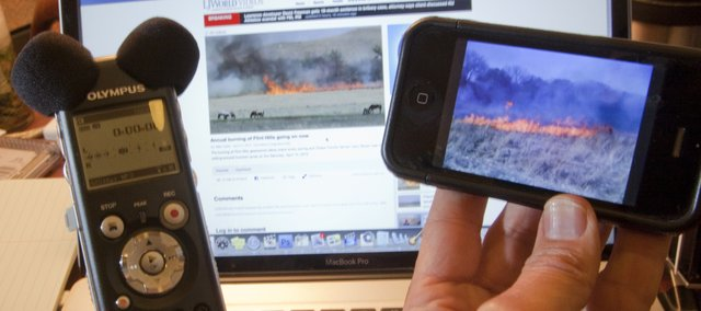 The web offers unlimited space for a photographer to document subjects. For a story on the annual burning in the Flint Hills, photographer Mike Yoder used a digital audio recorder, an HD video camera and even a cell phone, in addition to his usual gear, to produce a 3-minute online audio/slide show that expanded the print story.
