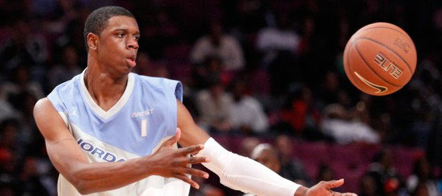 Kansas recruit Terrence Jones dishes a pass during the second half of the Jordan Brand Classic, Saturday, April 17, 2010 at Madison Square Garden.