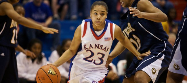 Angel Goodrich (23) weaves through the UC Riverside defense in this Dec. 20, 2009, photo at Allen FIeldhouse. Goodrich, who tore both of her ACL's in the past two years, is rehabbing and could hit the court again in a few weeks for pick-up games.