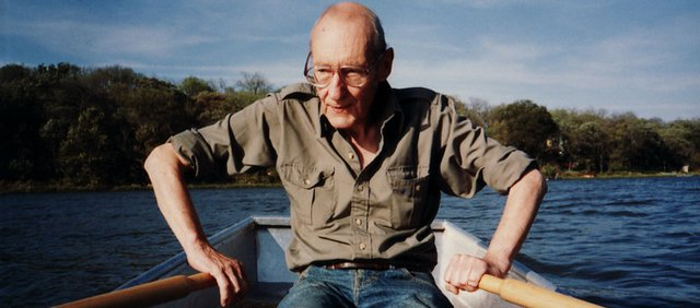 William S. Burroughs rows around Clinton Lake in the 1990s.