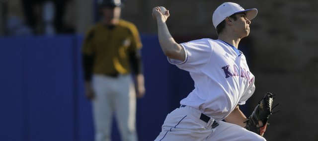 Kansas University starter T.J. Walz delivers against Missouri during the first inning. Walz helped the Jayhawks beat MU, 10-3, on Friday at Hoglund Ballpark.