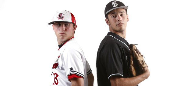 Lawrence High's Albert Minnis, left, will oppose Free State's Cody Kukuk in tonight's city baseball showdown, weather permitting. Minnis, a senior, has signed with Wichita State. Kukuk, a junior, has orally committed to Kansas University, but both might go pro instead.