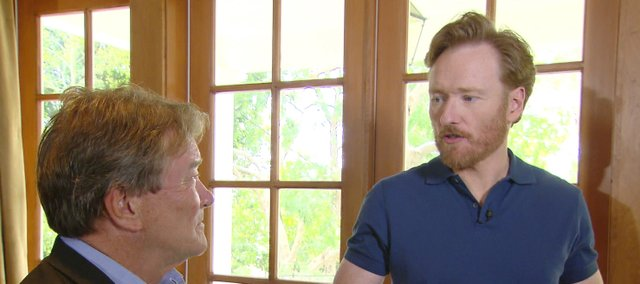 "Steve Kroft, left, interviews Conan O'Brien on ""60 Minutes."""