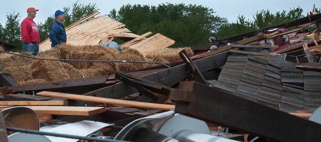 The barn at Zimmerman's Kill Creek Farm was destroyed during a storm with high winds late Wednesday night. In 2000, Darrel Zimmerman, owner of the farm, and a group of volunteers began tearing down and moving the 120-year-old barn from Gardner.