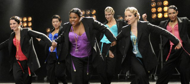 "Cast members of ""Glee,"" from left, Lea Michele, Jenna Ushkowitz, Amber Riley, Heather Morris, Dianna Agron and Naya Rivera perform in ""The Power of Madonna"" episode in this file publicity image released by Fox."
