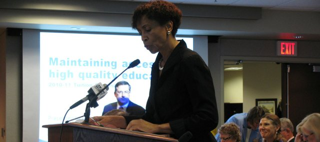 Kansas University Chancellor Bernadette Gray-Little briefs the Kansas Board of Regents on KU's proposed tuition and fee increase.