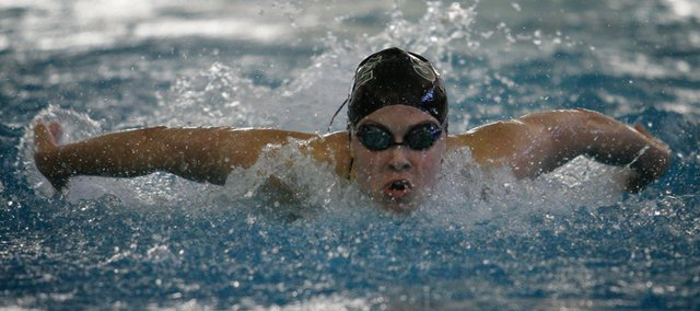 Free State's Chloe Portela competes during the 200 yard medley relay during the 6A State prelims Friday, May 21, 2010, at the Hummer Sports Complex in Topeka.