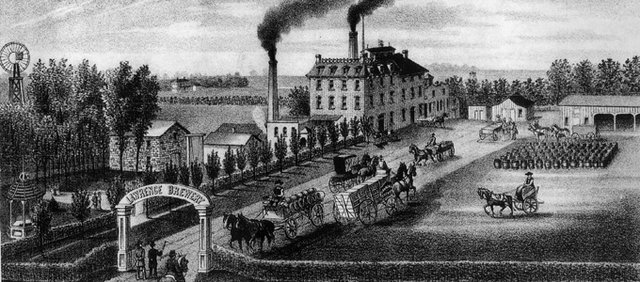 An illustration of the Walruff Brewery in 1880 from The Western Brewer.