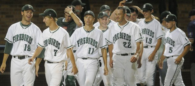 A happy bunch of Free State baseball players leaves the field after an 11-0 victory over Wichita Northwest. FSHS claimed a run-rule-shortened victory at the state tournament Friday at Hoglund Ballpark.