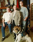 From left are Noble Lathrom, 56, U.S. Army; Tiffany Huggard-Lee, 25, Air Force, and her mobility dog; and Eric McClaflin, 26, U.S. Army. All are members of the Veterans of Foreign Wars Alford-Clarke Post 852 in Lawrence.