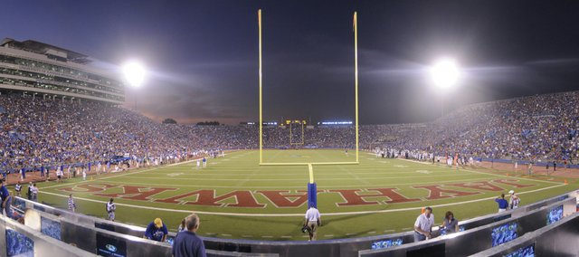 The Kansas and Kansas State University football teams will meet under the lights of Memorial Stadium on Oct. 14. The game will be televised nationally on Fox Sports Network.