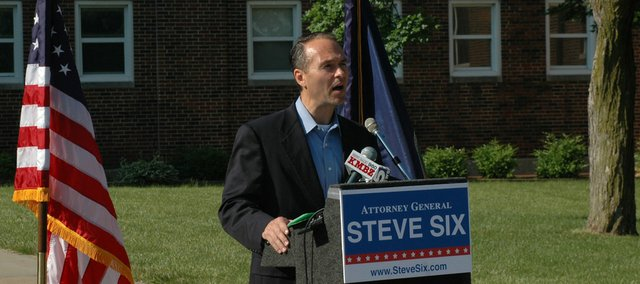 Attorney General Steve Six stopped Thursday at Shawnee Mission North High School in Overland Park as he kicked off his campaign to retain his post.