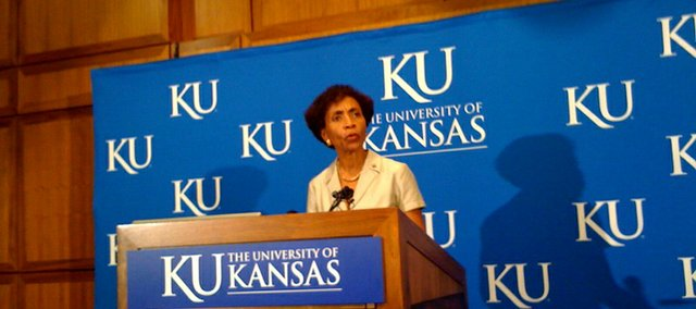 KU Chancellor Bernadette Gray-Little speaks at a press conference regarding the retirement  of Athletic Director Lew Perkins.