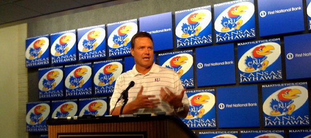 KU men's basketball coach Bill Self speaks to the media about conference realignment on Thursday.