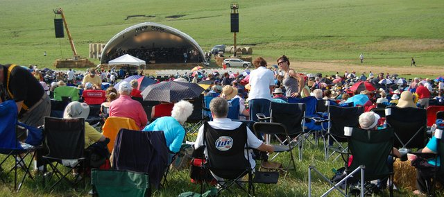 Symphony in the Flint Hills attendees start to fill in the natural ampitheater in the South Clements pasture pasture seven miles south of Bazaar. The land is owned by Texan Ed Bass. In 90 minutes, the event sold out, selling 5,000 general admission tickets.