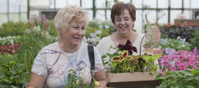 Cindy Pippenger, left, and her friend Janet Miller, both of Oklahoma City, shop Monday at Pine's Garden Center, 1320 N. Third St. Owners at Pine's say the nursery business has been significantly affected by North Lawrence road work.