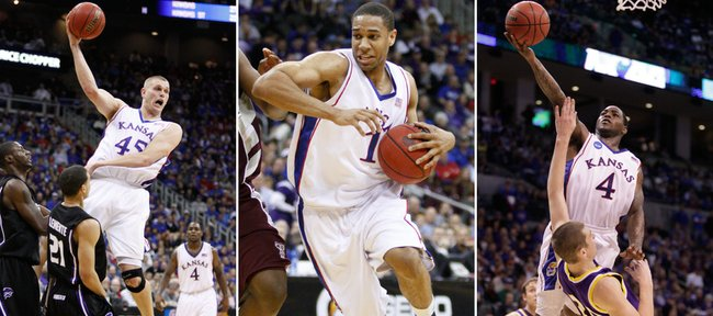Three Kansas University products — from left, Cole Aldrich, Xavier Henry and Sherron Collins — are expected to be selected in Thursday's NBA Draft. At least one scout says Aldrich and Henry are first-rounders, while Collins likely will go in the second round.