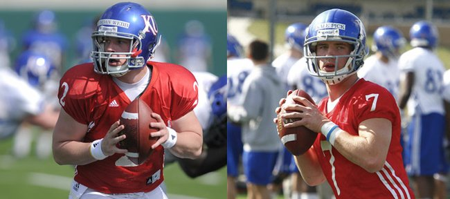Kansas quarterbacks Jordan Webb and Kale Pick are still in the lead for the position.