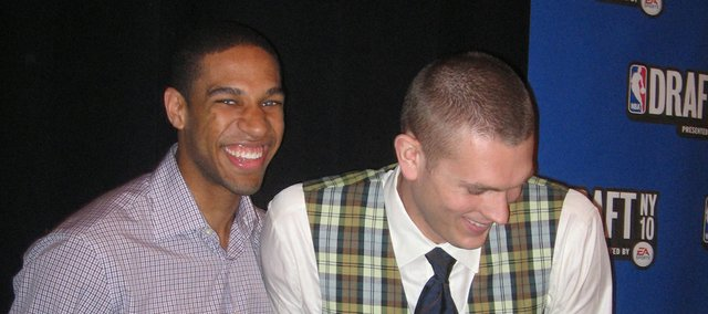 Former KU players Xavier Henry, left, and Cole Aldrich share a laugh at an NBA Draft media session on Wednesday, June 23, 2010, in New York City.