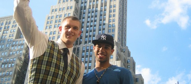 Kansas University basketball players Cole Aldrich, left, and Xavier Henry got a true feel for the size of New York on Wednesday, as they were shuffled around from place to place to fulfill all of the commitments that go along with being an NBA Draft pick. Aldrich and Henry will learn their NBA fates tonight at Madison Square Garden.