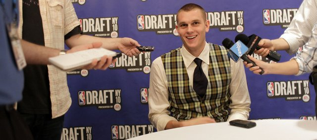 Former Kansas University center Cole Aldrich speaks with reporters during the 2010 NBA Draft media availability in New York. Aldrich figures to receive an opportunity for major minutes in Oklahoma City, a team that lacked a consistent post presence last season.