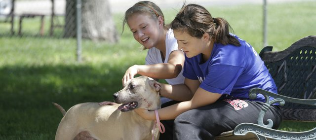 Sisters Lauren Fleming and Megan Fleming, Lawrence, play with Smudge outdoors on a volunteer visit to the Lawrence Humane Society in 2010. The shelter limits outdoor time for dogs on hot days. A Lawrence city ordinance makes it unlawful to leave any animal confined in a vehicle for more than five minutes in extreme weather conditions, defined as less than 30 degrees or more than 80 degrees Fahrenheit.