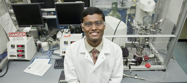 KU graduate student Madhav Ghanta won a national award for developing an environmentally-friendly way to make ethylene oxide, an important chemical in making antifreeze, plastic bottles and sports gear. Ghanta does his research at the Center for Environmentally Beneficial Research, 1510 Wakarusa Dr.