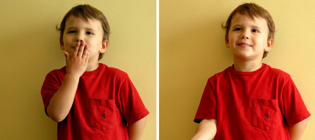 In this photo combination, Theo Ferragame, 3, demonstrates the two motion signs for thank you in the familys dining room in the Mount Airy neighborhood in Philadelphia. His parents found using signs both before and after Theo and his brother Phoenix started to talk resulted in fewer tears and tantrums. 