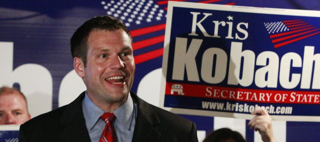 Kris Kobach claims victory in the Republican primary for Kansas Secretary of State in Topeka in this file photo. Kobach said he wants to see an end to birthright citizenship.