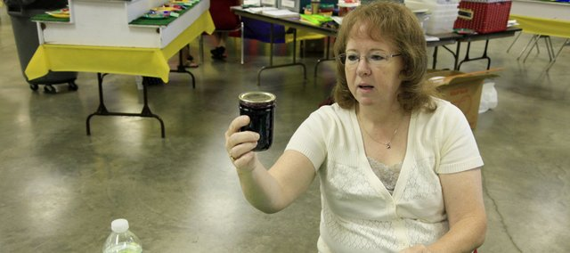 Mary Ellen Barnes examines a jar of jam Tuesday at the Douglas County Fair. She will travel to eight county fairs this year to judge countless jars of jam, without tasting any of them.