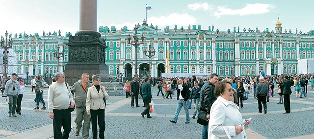 Visitors mill outside the Hermitage State Museum in St. Petersburg, Russia. Sight-seeing was one of the perks Kansas University student Godfrey Riddle enjoyed during his study abroad trip to Russia.