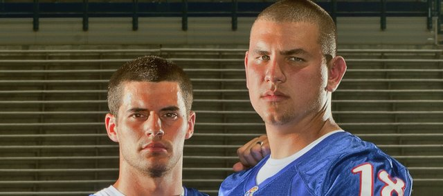 Kansas kicker Jacob Branstetter, left, and punter Alonso Rojas are close friends off the field.