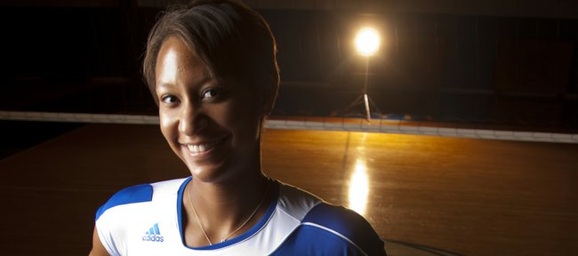 Kansas University senior volleyball player Karina Garlington has yet to make it to an NCAA Tournament, but she says this is the year.