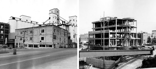 """The complexion of Sixth and Massachusetts streets changed completely after construction of a new City Hall began in the late 1970s, at right. The grain elevators were used when the area was a major shipping hub for the Santa Fe Railway and Jenny Wren flour was produced at the site. But the flour plant closed around World War II, and the grain elevators were shuttered in the 1960s, leaving an eyesore. The new City Hall, dedicated in 1980, changed all that. """"It probably was the most important of all the decisions that we made about downtown,"""" said Bob Schumm, a downtown restaurant owner who was on the City Commission in 1980."""