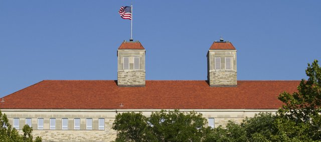 The flagpoles on Fraser Hall.