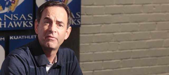 Volleyball coach Ray Bechard met with reporters at fall Olympic sports media day on Wednesday at Kansas University.