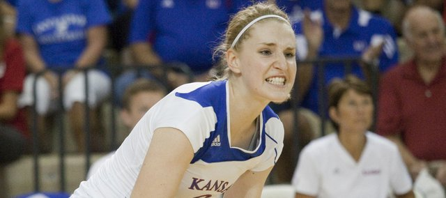 Kansas' Caroline Jarmoc celebrates a point in a Jayhawk Classic victory over Chattanooga on Saturday at Horejsi Center. Jarmoc was named tourney MVP.