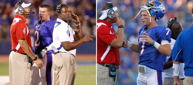 KU coach Turner Gill, at right in photo at left, might have a quarterback controversy brewing between Jordan Webb, left, and Kale Pick