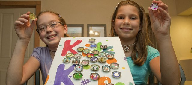 Katelyn Hess and Rinny Herndon, both 11, are friends and artists who have created a business based on bottle caps. The entrepreneurs will be part of the FALL Arts and Crafts Festival on Sunday in South Park. Below is an example of their work.