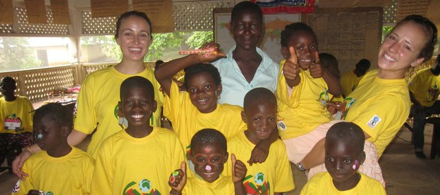 Maturo is shown with kids at Camp Hope, a yearly camp for children infected with AIDS.