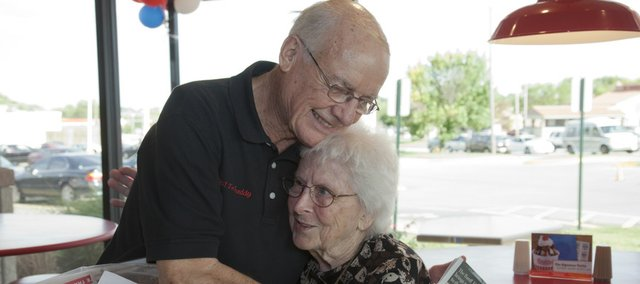 Betty Taylor and Freddy Simon got to see each other for the first time since 1942 when they were both in high school in Maize. On Tuesday, they met again at Simon's namesake restaurant, Freddy's Frozen Custard and Steakburgers, at 23rd and Iowa streets.